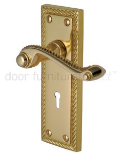 Georgian Polished Brass Rope Edge Keyhole Door Handles