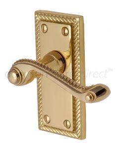Georgian Polished Brass Rope Edge Short Plate Latch Door Handles