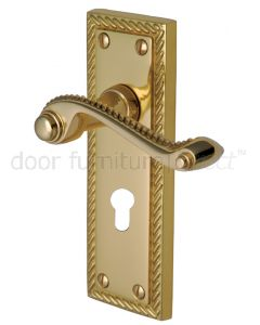 Georgian Polished Brass Rope Edge 48mm Euro Cylinder Door Handles