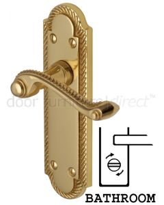 Gainsborough Polished Brass Rope Edge Bathroom Lock Door Handles