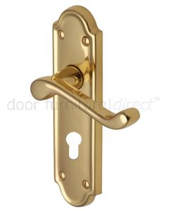 Meridian Scroll Lever Polished Brass 48mm Euro Cylinder Door Handles
