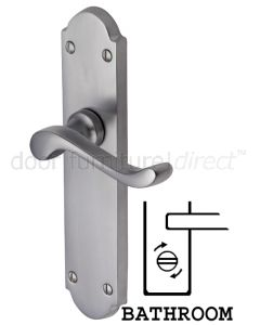 Savoy Long Scroll Lever Satin Chrome Bathroom Lock Door Handles