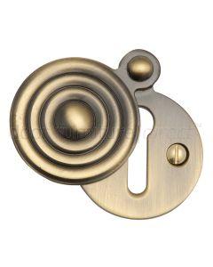 Antique Brass Reeded Door Key Hole Escutcheon 33mm