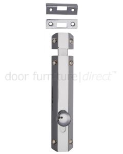 Polished Chrome Decorative Flat Door Bolt 8in (200mm)