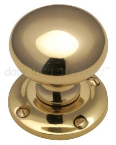 Polished Brass Victoria Mortice Door Knob Set 55mm