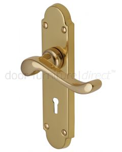 Savoy Polished Brass Scroll Lever Keyhole Door Handles