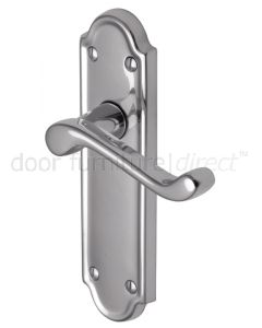 Meridian Scroll Lever Polished Chrome Latch Door Handles