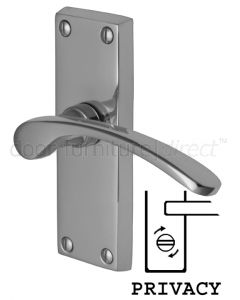 Sophia Curved Lever Polished Chrome Privacy Lock Door Handles