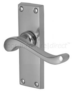 Bedford Scroll Lever Polished Chrome Short Plate Latch Door Handles