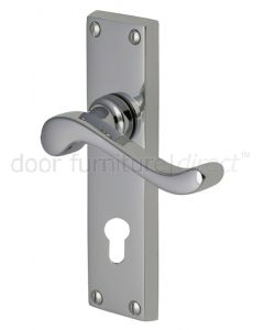 Bedford Scroll Lever Polished Chrome 48mm Euro Cylinder Door Handles