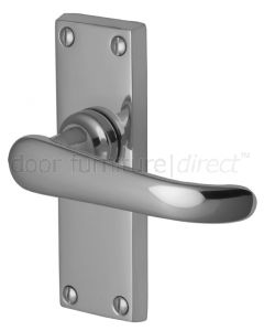 Windsor Straight Lever Polished Chrome Short Plate Latch Door Handles