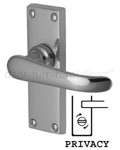 Windsor Straight Lever Polished Chrome Privacy Lock Door Handles