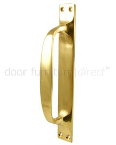 Polished Brass D Style Door Pull Handle on Backplate 6.3/4in (172mm)