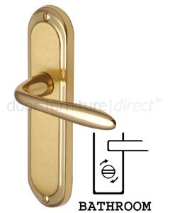 Henley Shaped Lever Dual Finish Brass Bathroom Lock Door Handles