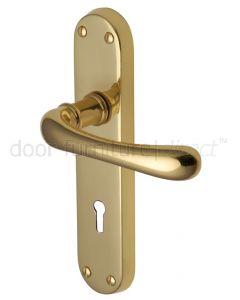 Luna Shaped Lever Polished Brass Keyhole Door Handles