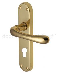 Luna Shaped Lever Polished Brass 48mm Euro Cylinder Door Handles
