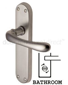 Luna Shaped Lever Satin Nickel Bathroom Door Handles