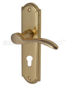 Howard Curved Lever Polished Brass 48mm Euro Cylinder Door Handles