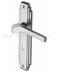 Tiffany Polished Chrome Art Deco Lock Handles