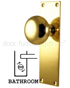 Heritage Balmoral Polished Brass Knob on Bathroom Plate