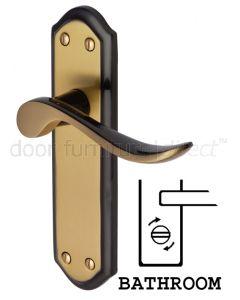 Sandown Curved Lever Brass and Bronze Bathroom Door Handles
