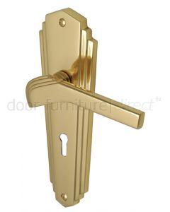Heritage Polished Brass Waldorf Art Deco Lock Handles WAL6500PB