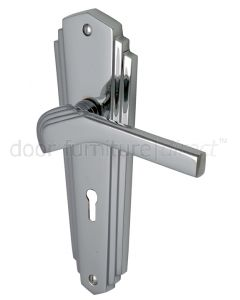 Heritage Brass Waldorf Chrome WAL6500PC Art Deco Lock Handles