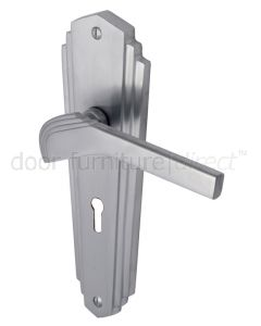 Heritage Brass Waldorf Satin Chrome WAL6500SC Art Deco Lock Handles