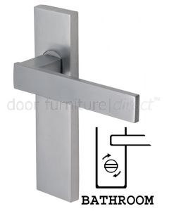 Delta Straight Lever Satin Chrome Bathroom Lock Door Handles