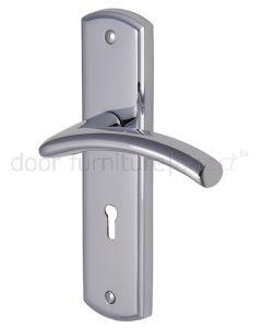 Centaur Curved Lever Polished Chrome Keyhole Door Handles