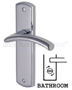 Centaur Curved Lever Polished Chrome Bathroom Lock Door Handles