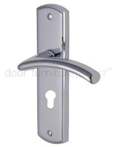 Centaur Curved Lever Polished Chrome 48mm Euro Cylinder Door Handles