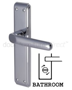 Deco Straight Lever Polished Chrome Bathroom Lock Door Handles