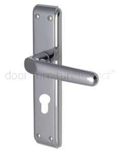 Deco Straight Lever Polished Chrome 48mm Euro Cylinder Door Handles