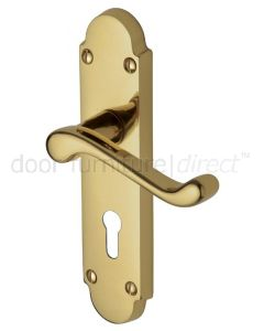 Milton Polished Brass Scroll Lever Keyhole Door Handle Set