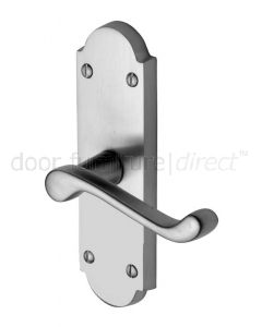 Milton Scroll Lever Satin Chrome Short Plate Latch Door Handle Set