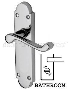 Milton Scroll Lever Polished Chrome Bathroom Lock Door Handle Set