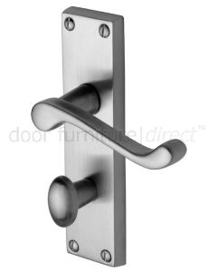 Malvern Scroll Lever Satin Chrome Bathroom Lock Door Handle Set