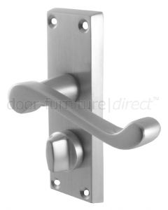 Malvern Scroll Lever Satin Chrome Privacy Lock Door Handle Set