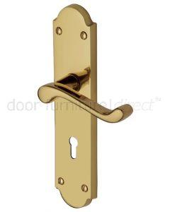 Kensington Polished Brass Scroll Lever Keyhole Door Handle Set