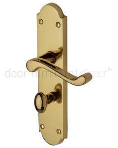 Kensington Scroll Lever Polished Brass Bathroom Door Handle Set