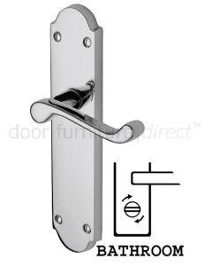 Kensington Scroll Lever Polished Chrome Bathroom Door Handle Set