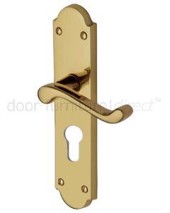 Kensington Scroll Lever Polished Brass 48mm Euro Cylinder Door Handles