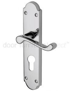Kensington Scroll Lever Polished Chrome 48mm Euro Cylinder Door Handles
