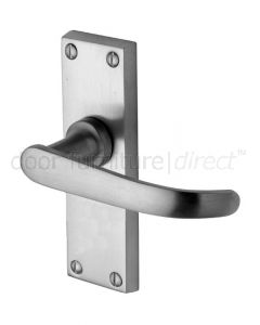 Avon Straight Lever Satin Chrome Short Plate Latch Door Handle Set