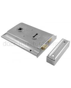 Satin Chrome Rim Lock 6x4in (153x102mm)