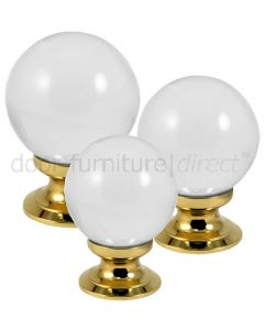 Clear Glass Ball Cupboard Knob Polished Brass Rose