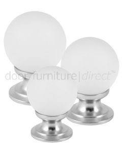 Frosted Glass Ball Cupboard Knob Satin Chrome Rose