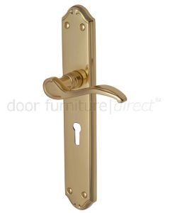 Verona Scroll Lever Polished Brass Keyhole Door Handles