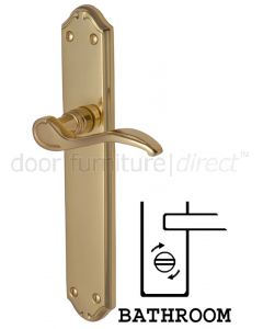 Verona Scroll Lever Polished Brass Bathroom Lock Door Handles